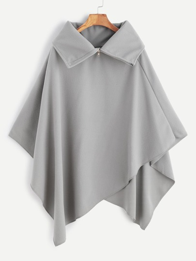 Grey Turtleneck Asymmetric Poncho Coat