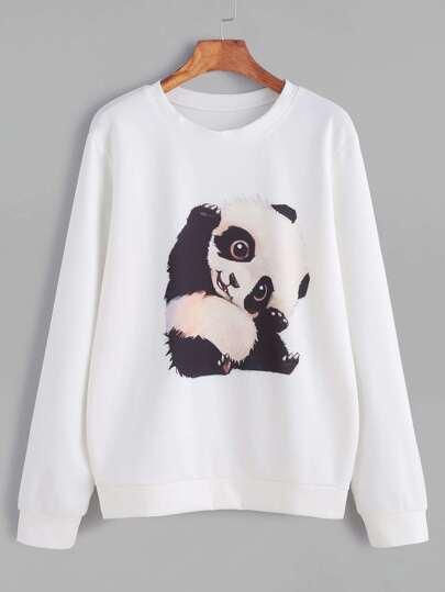 Sweat-shirt imprimé panda -blanc