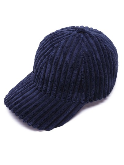 Navy Solid Color Soft Corduroy Winter Baseball Cap