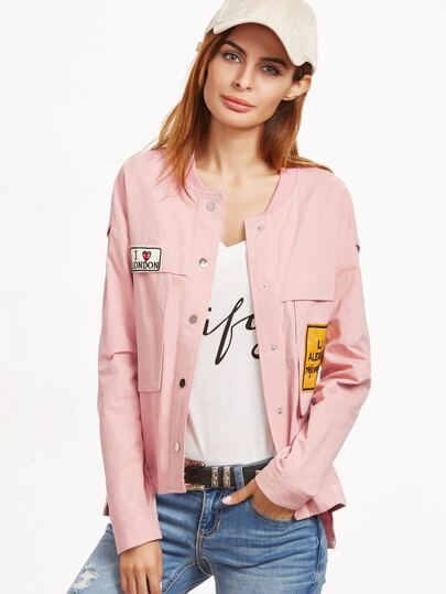 Pink Ribbed Collar High Low Jacket With Patch Detail