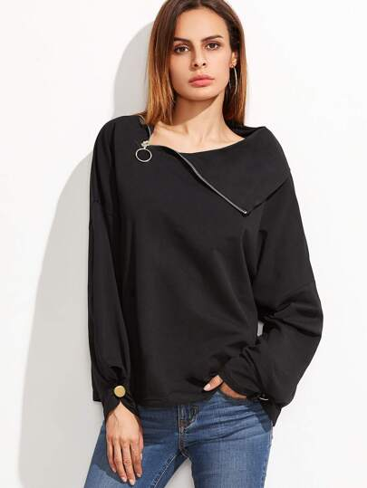 Black Zip Slit Collar Drop Shoulder Buttoned Cuff Sweatshirt