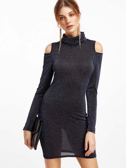 Dark Blue Cold Shoulder Long Sleeve Bodycon Dress