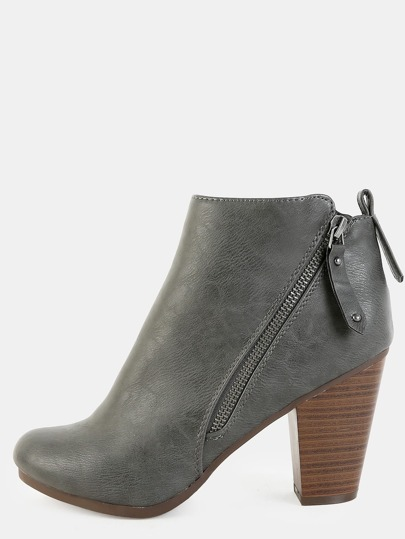 Ankle Stacked Heel Boots GREY