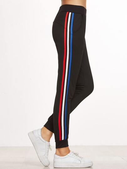 Black Striped Side Elastic Waist Beam Port Pants