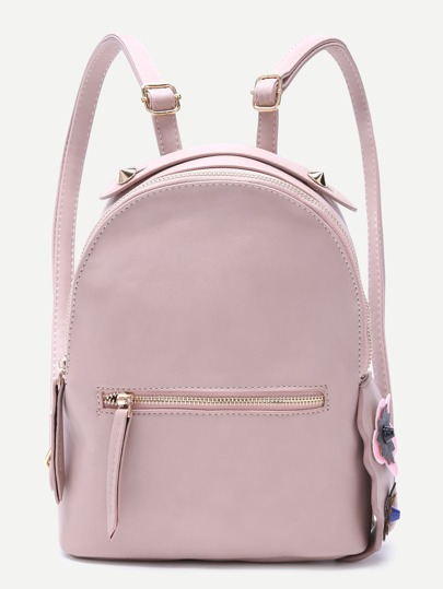 Pink Floral Side Zip Front PU Backpack