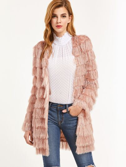Pink Layered Faux Fur Open Front Coat