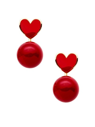 Red Faux Pearl Heart Stud Earrings