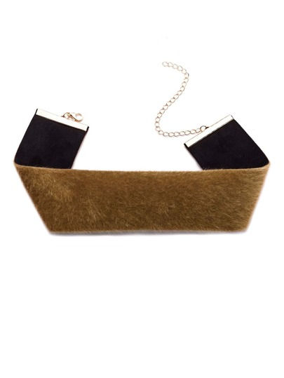 Brown Fluffy Faux Fur Wide Choker Necklace