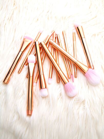 Pinceau de maquillage cosmetique quinze -rose doré et rose