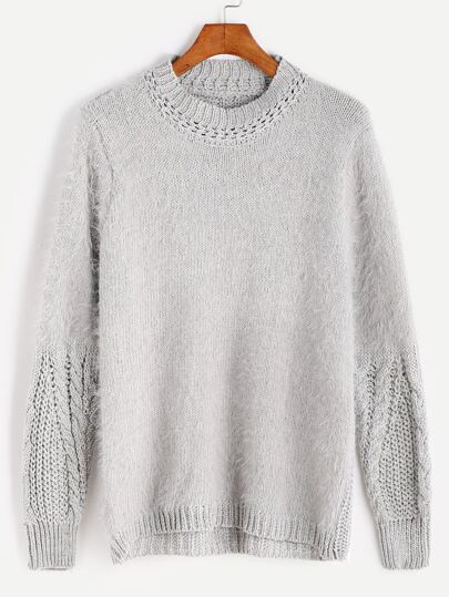 Grey Hollow Cable Sleeve Fuzzy Sweater