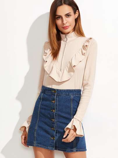 Apricot Zip High Neck Bell Cuff Ruffle T-shirt