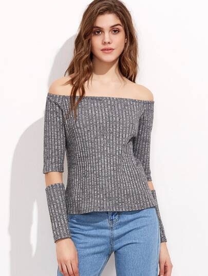 Marled Grey Off Shoulder Ribbed T-shirt With Detachable Sleeve