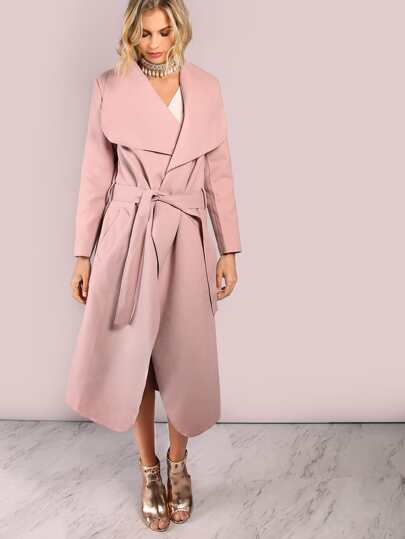 Lightweight Crepe Lapel Coat DUSTY PINK