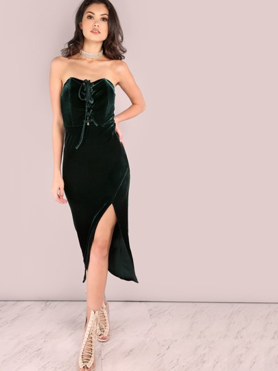 Green Lace Up Front Slit Velvet Bandeau Dress