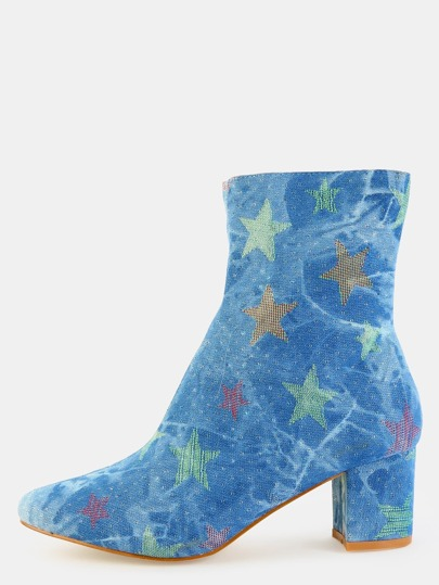 Denim Star Chunky Heel Booties DENIM