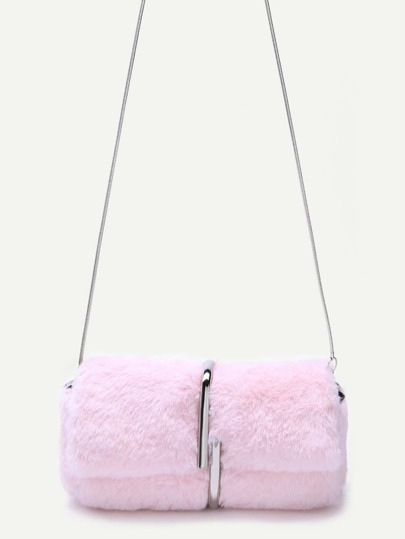 Metal Clipped Faux Fur Shoulder Bag