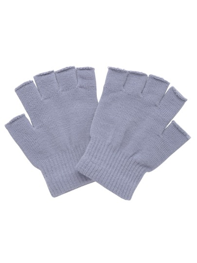 Light Grey Knitted Fingerless Textured Gloves