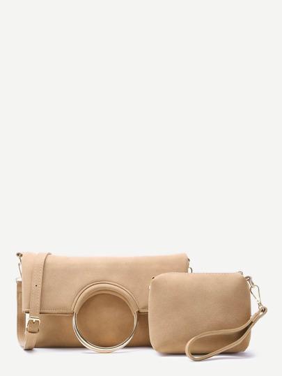 Khaki Nubuck Leather Metal Ring Fold Over 2Pcs Bag Set