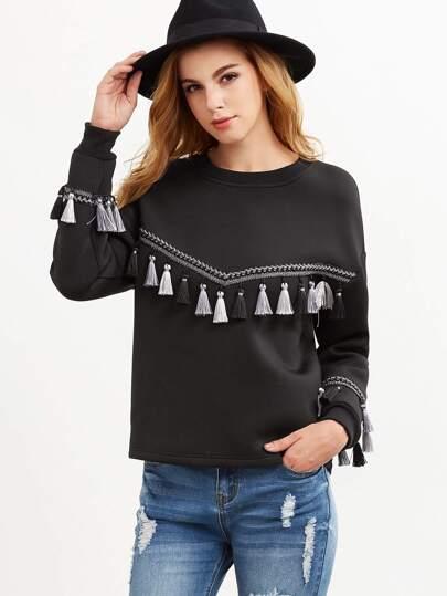 Black Embroidered Tape And Tassel Embellished Sweatshirt