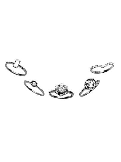 5PCS Silver Plated Rhinestone Geometric Ring Set