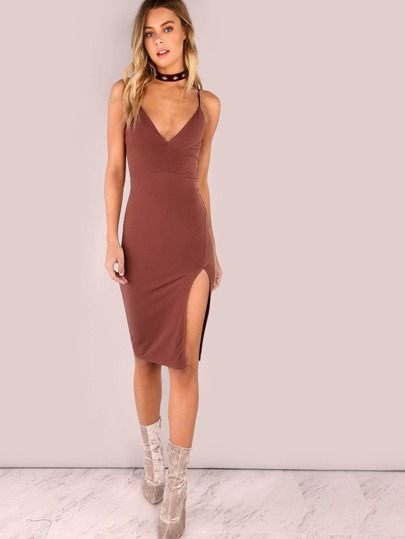 V Neck Bodycon Slit Dress DARK RED BROWN