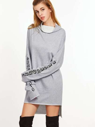 Heather Grey Letter Print Cowl Neck High Low Sweatshirt Dress