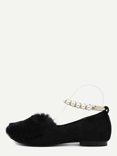 Chaussures plates en poil de lapin avec perle - noir