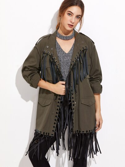 Army Green Multi Pocket Fringe Trim Utility Jacket