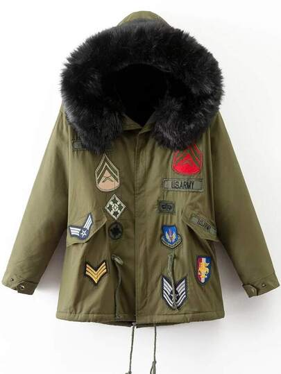 Army Green Patch Embroidery Faux Fur Hooded Coat