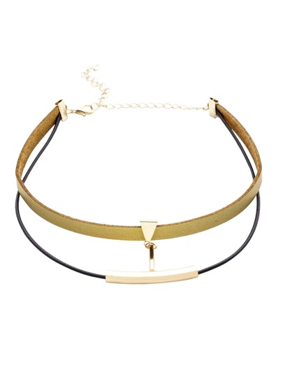 Gold Double Layer Metal Trim Choker Necklace
