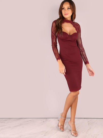 Lace Sleeve Bustier Bodycon Dress BURGUNDY