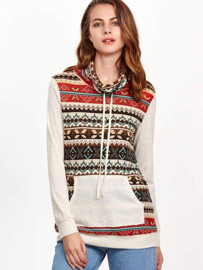 Multicolor Tribal Print Drawstring Cowl Neck Sweatshirt