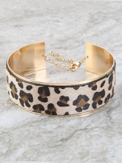 Metallic Leopard Choker Necklace LEOPARD