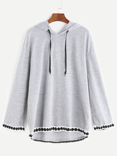 Grey Hooded Embroidered Tape Detail Sweatshirt