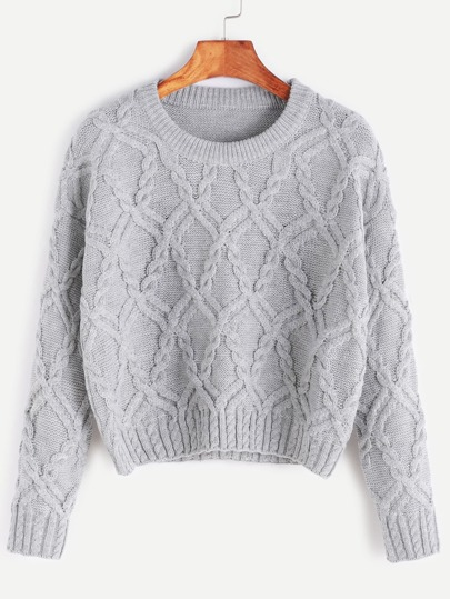 Grey Drop Shoulder Crop Cable Knit Sweater