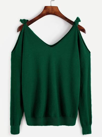 Dark Green Open Shoulder Jersey Sweater