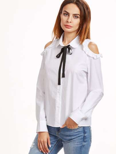 White Contrast Tie Neck Frilled Open Shoulder Blouse