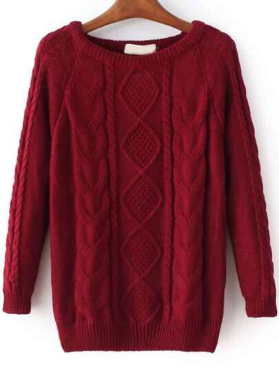 Burgundy Cable Knit Raglan Sleeve Sweater