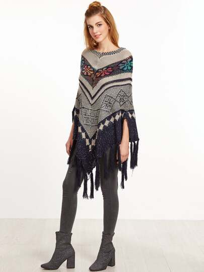 Geometric Pattern Slit Side Fringe Poncho Sweater
