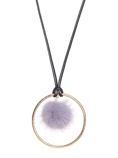Grey Pom Pom Gold Ring Long Pendant Necklace