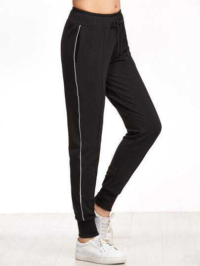Black Striped Side Ribbed Hem Drawstring Pants