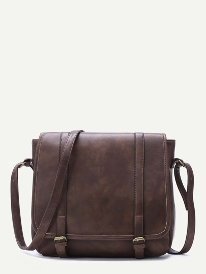 Coffee Faux Leather Buckled Strap Satchel Bag
