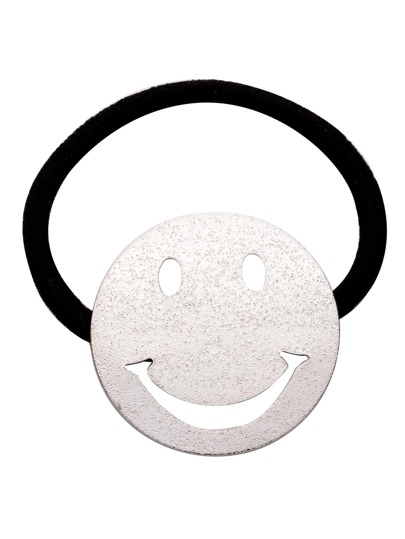 Silver Smiley Face Hollow Out Hair Tie
