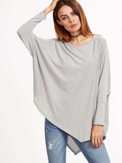 Grey Batwing Sleeve Asymmetric Hem T-shirt