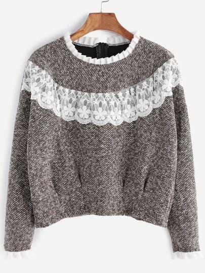Khaki Contrast Lace Ruffle Trim Sweatshirt