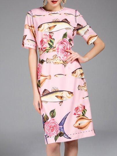 Pink Fishes Rose Print Sheath Dress