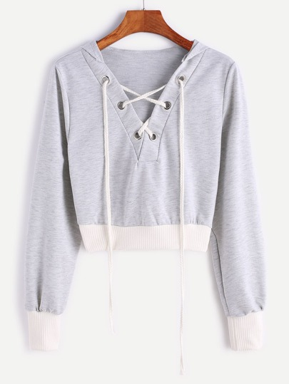 Contrast Ribbed Trim Hooded Lace Up Crop Sweatshirt