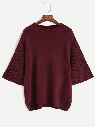Maglione Maniche Forma Kimono Scollo Forma Imbuto - Violetto
