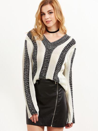 Pull à rayure verticale tricoté contrasté