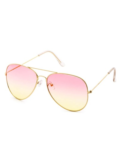 Pink And Yellow Ombre Double Bridge Aviator Sunglasses